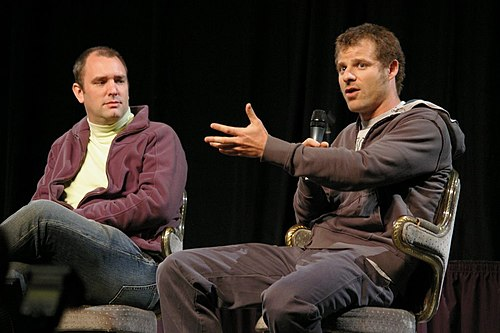 South Park co-creators Trey Parker and Matt Stone co-wrote Bigger, Longer & Uncut, while Trey Parker became the director of the film. Trey Parker Matt Stone 2007.jpg