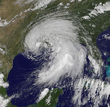 A satellite image depicting a subtropical cyclone prior to making landfall in Louisiana.