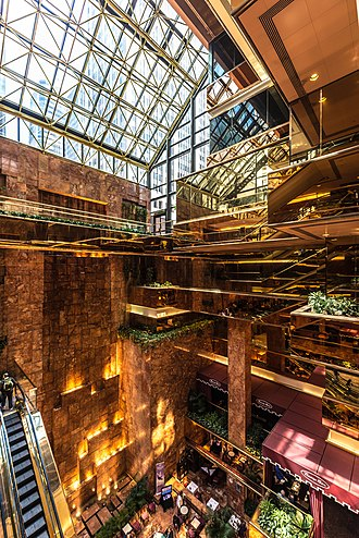 Atrium (architecture) - View of the Trump Tower atrium in Midtown Manhattan from an intermediate level
