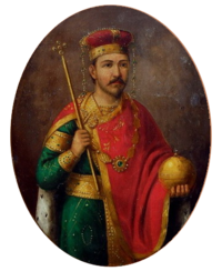 Modern painting of a standing man dressed in a green tunic, red cape, holding a sceptre and globus cruciger and wearing a gold-and-red crown