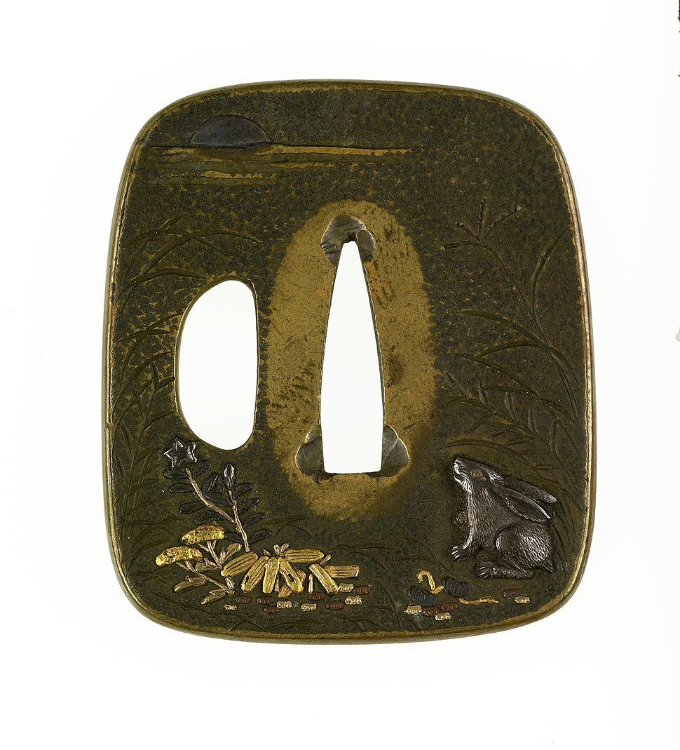 Tsuchiya Yasuchika - Tsuba with a Rabbit Viewing the Autumn Moon - Walters 51163
