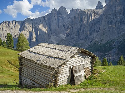 Hayloft in the Mittagstal of the Sella group in South Tyrol