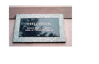 Karel Ančerl - Memorial plaque to Ančerl unveiled on 6 September 1998 on the building of the municipal office in his native Tučapy, Tábor District