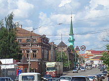 Tuqay street and Soltan mosque minaret.JPG