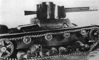 Leonid Kurchevsky - Twin-turreted T-26 light tank armed with the 76.2 mm recoilless gun designed by Kurchevsky in the right turret. 1934.