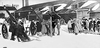 "Civil war - An artillery school set up by the anti-socialist ""Whites"" during the Finnish Civil War, 1918"