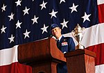 U.S. Air Force Brigadier General Donald Bacon, 55th Wing Commander, gives his closing remarks during the change of command ceremony at Offutt Air Force Base, Nebraska.jpg