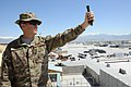 U.S. Air Force Senior Airman Zachary Sura, a weather forecaster with the 455th Expeditionary Operations Support Squadron, uses a handheld weather tracker at Bagram Airfield, Parwan province, Afghanistan, May 1 130501-F-ZX232-014.jpg