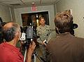 U.S. Air Force Staff Sgt. Kelli Sweeny answers questions from Buffalo, N.Y., media members at Niagara Falls, N.Y. 110827-F-ZP861-2160.jpg