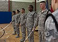 U.S. Air Force Staff Sgt. Stephen Dimando, foreground, leads Airmen with the base honor guard unit through saber training during a weekly practice at the 379th Air Expeditionary Wing in Southwest Asia Aug. 19 130819-F-RY372-082.jpg