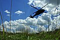 U.S. Army Staff Sgt. Wendy McDougall, a broadcast journalist with the 101st Public Affairs Detachment, Delaware Army National Guard, is lowered from a UH-60 Black Hawk helicopter during rescue hoist training 130804-Z-DL064-197.jpg