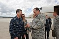 U.S. Navy Adm. Bruce W. Clingan, left, the commander of U.S. Naval Forces Europe-Africa and commander of Allied Joint Force Command Naples, greets Army Gen. Philip M. Breedlove, foreground right, the commander 130530-N-AW206-002.jpg