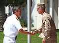 U.S. Navy Vice Adm. Harry B. Harris, an adviser to U.S. Secretary of State Hillary Rodham Clinton, shakes hands with U.S. Marine Corps Col. John P. Farnam, commanding officer of Marine Corps Air Station (MCAS) 120830-M-GC438-020.jpg