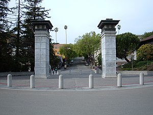 Northside, Berkeley, California - A view of the Euclid Avenue business district, through the university's North Gate