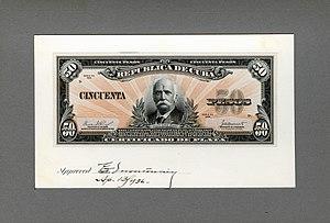Calixto García - Image: US BEP República de Cuba (progress proof) 50 silver pesos, 1936 (CUB 73b)