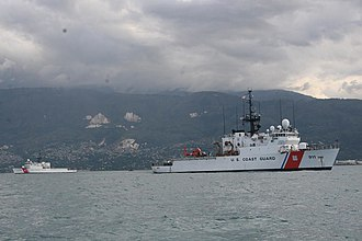 Operation Unified Response - Two United States Coast Guard Cutters off Port-au-Prince, Haiti. USCGC Forward is in the foreground.