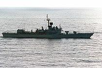 USS Brooke (FFG-1) underway off San Clemente Island on 17 January 1988 (6640000).jpg