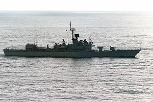 USS Brooke (FFG-1) underway off San Clemente Island on 17 January 1988 (6640000).jpg