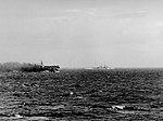 USS Princeton (CVL-23) underway afire with USS Reno (CL-96) in October 1944.jpg