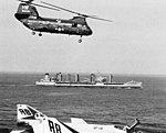 USS Waccamaw (AO-109) with UH-46D of HC-6 in the Mediterranean Sea 1969.jpg