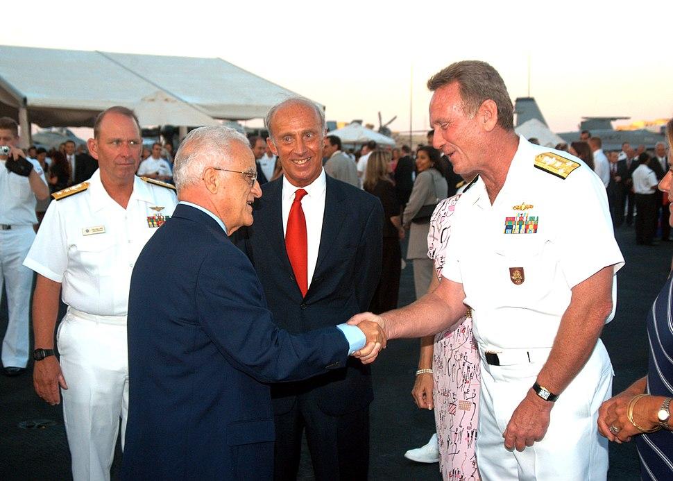 US Navy 040628-N-2591H-001 Commander Six Fleet, Vice Admiral Henry G. Ulrich III greets Maltese President, Edward Fenech-Adami aboard the conventionally powered aircraft carrier USS John F. Kennedy (CV 67)
