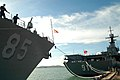 US Navy 040630-N-0493B-011 Sailors aboard guided missile destroyer USS McCampbell (DDG 85) moored behind His Thai Majesty's Ship (HTMS) Chakri Naruebet, after arriving for the Thailand phase of exercise Cooperation Afloat Read.jpg