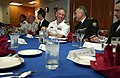 US Navy 050701-N-9851B-026 Commanding Officer, USS Curtis Wilber (DDG 54), Cmdr. John T. Lauer III, entertains the commander of the Russian Pacific Fleet, Adm. Federov, in the wardroom.jpg