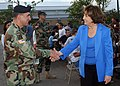 US Navy 051008-N-8253M-001 Louisiana State Governor Kathleen Blanco shakes hands with U.S. Army Maj. Mike Costanza during a dinner with Former President George H. Bush.jpg