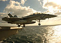 US Navy 051109-N-3488C-098 An F-A-18F Super Hornet, assigned to the Diamondbacks of Strike Fighter Squadron One Zero Two (VFA-102), launches off flight deck of the conventionally powered aircraft carrier USS Kitty Hawk (CV 63).jpg