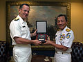 US Navy 060616-N-2383B-094 Chief of Naval Operations (CNO) Adm. Mike Mullen and Chief of Navy Staff, Indonesian Navy Adm. Slamet Soebijanto exchange command plaques.jpg