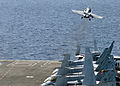 US Navy 061106-N-1063M-007 An F-A-18F Super Hornet assigned to Strike Fighter Squadron One Zero Three (VFA-103) launches from the flight deck in support of the global war on terrorism aboard the Nimitz-class aircraft carrier US.jpg