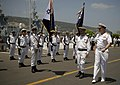 US Navy 080621-N-8273J-084 Chief of Naval Operations (CNO) Adm. Gary Roughead inspects the troops of the Israel Navy during an honors ceremony prior to getting underway with Eilat-class corvette INS Lavhav (SAAR 502).jpg