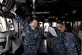 US Navy 110503-N-QP268-053 Sailors monitor the wind in preparation for flight deck operations aboard the amphibious dock landing ship USS Whidbey I.jpg