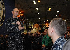 US Navy 120112-N-VH054-073 Chief of Naval Operations (CNO) Adm. Jonathan Greenert speaks to Sailors during an all-hands call aboard the aircraft ca.jpg