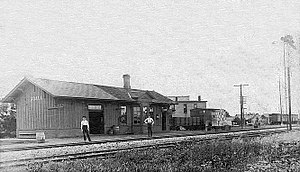 Udall, Kansas - Atchison, Topeka and Santa Fe Railway depot in Udall, circa 1890