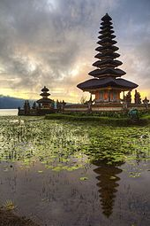 the pagoda like pelinggih meru shrine of pura ulun danu bratan is a distinctive feature balinese temple