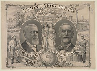1888 United States presidential election - Streeter/Cunningham campaign poster