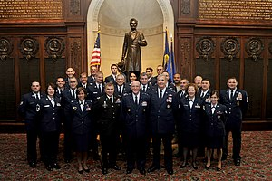 J. Otto Schweizer - U.S. Air Force officers posing in the Memorial Room, Union League of Philadelphia.