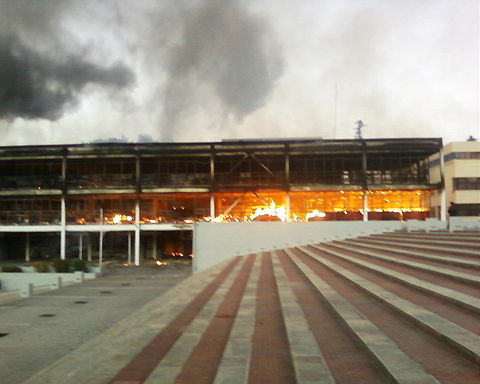 Fire in the University of Concepción, after the February earthquake.