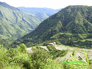 Education in the Philippines - Upper Uma Elementary School, Pasil Valley, Upper Kalinga, viewed from Ag-gama track, July 2008. Note distance from road (centre left).