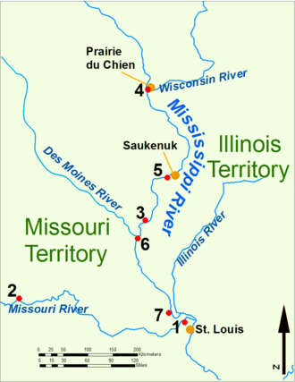 Campbell's Island, Illinois - The Upper Mississippi River during the War of 1812. 1: Fort Bellefontaine U.S. headquarters; 2: Fort Osage, abandoned 1813; 3: Fort Madison, defeated 1813; 4: Fort Shelby, defeated 1814; 5: Battle of Rock Island Rapids, July 1814 and the Battle of Credit Island, Sept. 1814; 6: Fort Johnson, abandoned 1814; 7: Fort Cap au Gris and the Battle of the Sink Hole, May 1815.