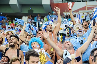 Uruguay supporters at the 2018 FIFA World Cup in Russia Uruguay fans Russia 2018.jpg