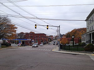 Downtown Uxbridge, looking South on Route 122, Fall scene