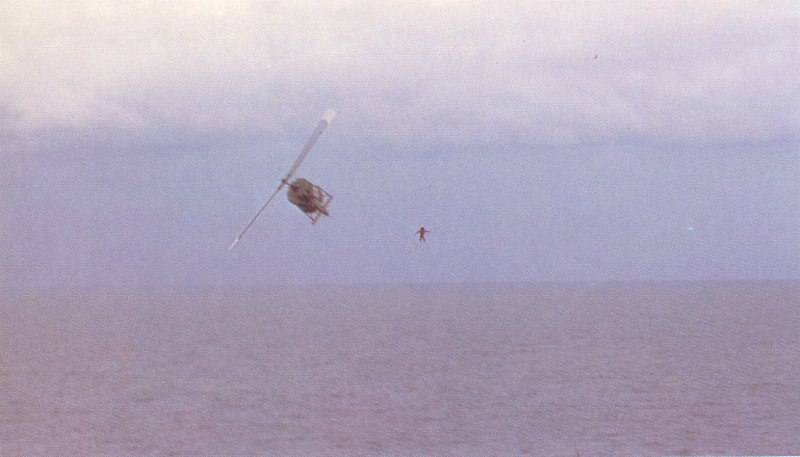 VNAF pilot jumps into the sea from his Huey