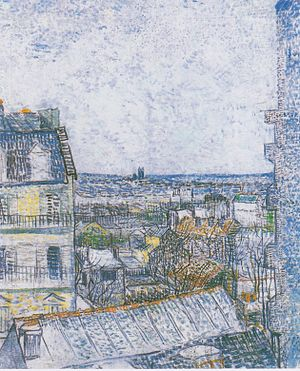 View of Paris from Vincent's Room in the Rue Lepic - Image: Van Gogh Blick auf Paris aus Vincents Zimmer in der Rue Lepic 1