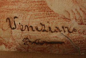 "Adoration of the Shepherds (Raphael) - Signature, ""Raphaello Fecit"""