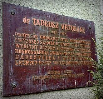Tadeusz Vetulani - Plaque of Vetulani in Poznań