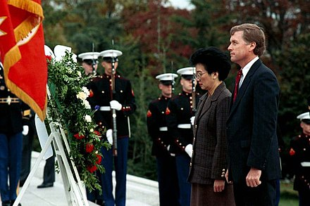 President Corazon Aquino with U.S. Vice President Dan Quayle participate in the Veterans' Day Service at the Arlington National Cemetery, on 10 November 1989 Vice President Dan Quayle and President Corizon Aquino of the Philippines participate in the Veterans' Day Service at Arlington National Cemetery, 10 Nov 89.jpg