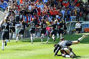Paris Saint-Germain Féminines - PSG players celebrate qualifying to the UEFA Women's Champions League for the first time in the club's history in 2011.