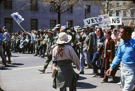 Anti-war protest against the Vietnam War in Washington, D.C. on April 24, 1971. Vietnam War protest in Washington DC April 1971.jpg